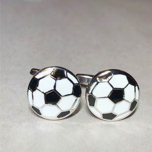 Enameled soccer ball cufflinks